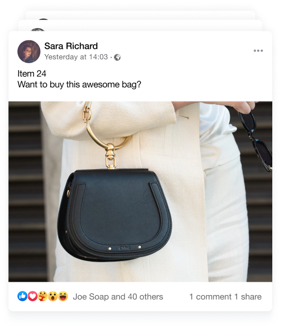 Facebook post with product