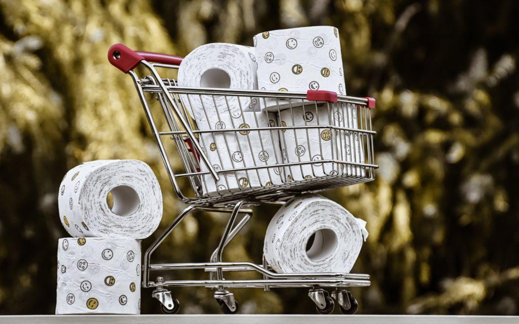 shopping cart, toilet paper