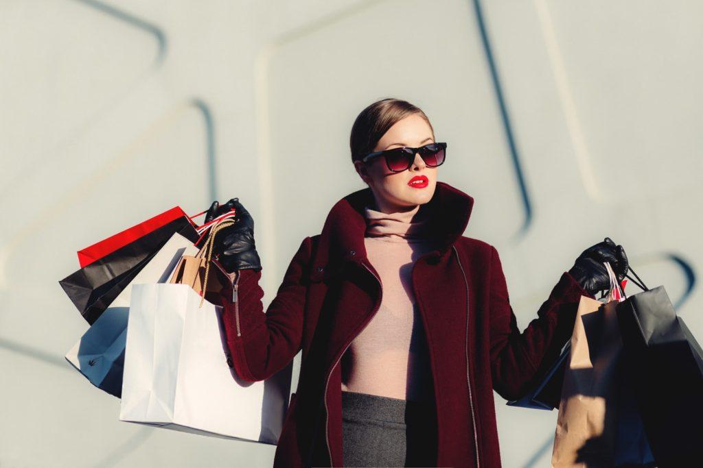 woman, shopping bags, fashion
