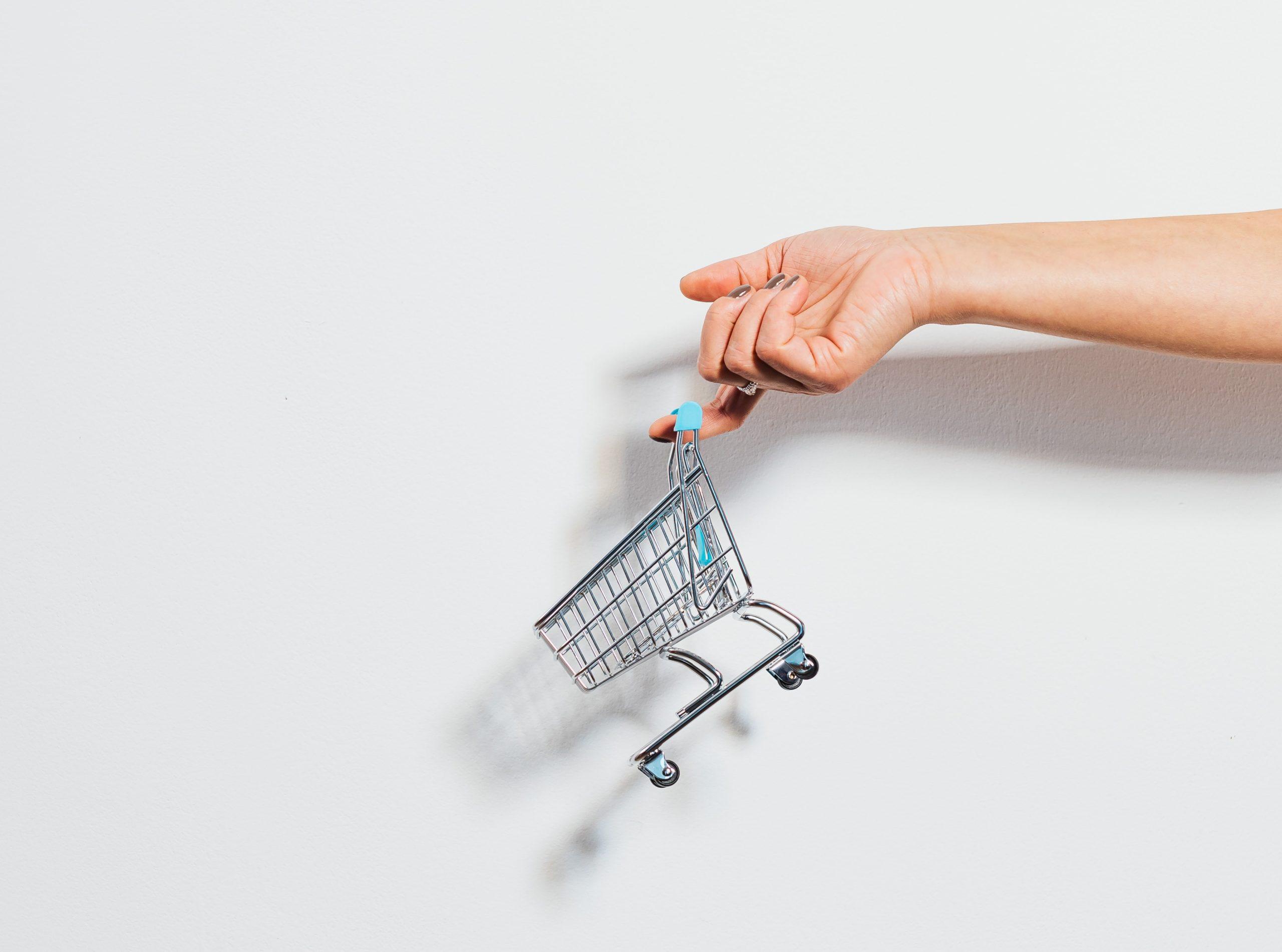 shopping cart, hand, hand holding shopping cart